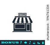 store icon flat. black...   Shutterstock .eps vector #596761334
