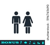 man and woman icon flat. black... | Shutterstock .eps vector #596765690