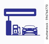 petrol station icon. flat... | Shutterstock .eps vector #596766770