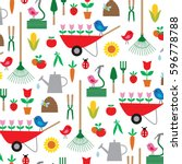 gardening pattern | Shutterstock .eps vector #596778788