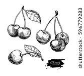 cherry vector drawing set.... | Shutterstock .eps vector #596779283