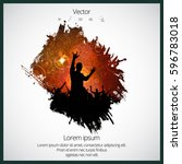 silhouette of dancing people | Shutterstock .eps vector #596783018