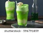 Homemade Green Ice Cream Soda...