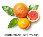 grapefruits isolated on white... | Shutterstock . vector #596799584