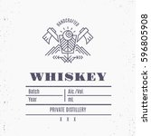 vintage whiskey label design... | Shutterstock .eps vector #596805908
