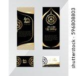 vintage invitation card in... | Shutterstock .eps vector #596808803