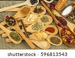 spices on wooden spoons. sales... | Shutterstock . vector #596813543