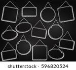 chalkboard style hanging frames ... | Shutterstock .eps vector #596820524