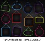 chalkboard style hanging frames ... | Shutterstock .eps vector #596820560