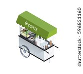 mobile coffee kiosk composition ... | Shutterstock .eps vector #596821160