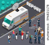 reportage from murder scene... | Shutterstock .eps vector #596821178