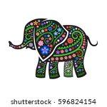 black silhouette of elephant...   Shutterstock .eps vector #596824154
