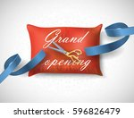 grand opening  card with blue... | Shutterstock .eps vector #596826479