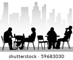 vector drawing people in cafes | Shutterstock .eps vector #59683030