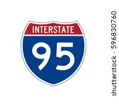 interstate highway 95 road sign  | Shutterstock .eps vector #596830760