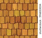 seamless wood roof tiles | Shutterstock .eps vector #596833034
