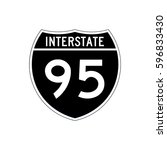 interstate highway 95 road sign.... | Shutterstock .eps vector #596833430