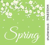 card with spring flowers on... | Shutterstock . vector #596835044