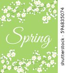card with spring flowers on... | Shutterstock . vector #596835074