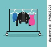 clothes hanging in a row on the ... | Shutterstock .eps vector #596835203