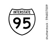 interstate highway 95 road sign.... | Shutterstock .eps vector #596837009