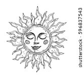 hand drawn sun with face... | Shutterstock .eps vector #596837543