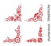 set of four traditional folk... | Shutterstock .eps vector #596839196