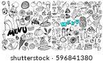 hand drawn food elements. set...   Shutterstock .eps vector #596841380