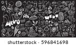 hand drawn food elements. set... | Shutterstock .eps vector #596841698
