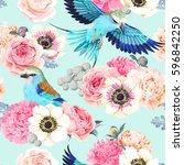 seamless wedding flowers | Shutterstock .eps vector #596842250