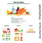 the 5 2 diet flat illustrations.... | Shutterstock . vector #596856989