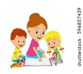 kids boy  girl and woman are... | Shutterstock .eps vector #596857439