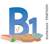 foods rich in vitamin b1 | Shutterstock .eps vector #596876204