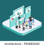 isometric flat 3d concept... | Shutterstock .eps vector #596882060