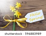 sunny narcissus  label  text...   Shutterstock . vector #596883989