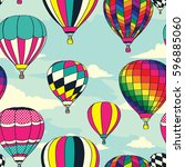 colorful retro pop hot air... | Shutterstock .eps vector #596885060