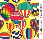 colorful retro pop hot air... | Shutterstock .eps vector #596885063