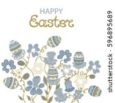 happy easter card with flowers... | Shutterstock .eps vector #596895689