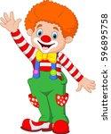 cartoon happy clown waving hand   Shutterstock .eps vector #596895758