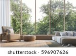 modern bedroom with nature view ... | Shutterstock . vector #596907626