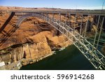 glen canyon dam and bridge at... | Shutterstock . vector #596914268
