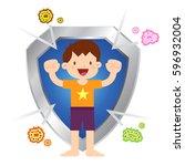 vector stock of little boy... | Shutterstock .eps vector #596932004