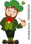 cartoon happy leprechaun with... | Shutterstock .eps vector #596948234