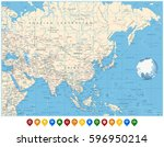 asia political map and and... | Shutterstock .eps vector #596950214