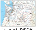 washington physical state map... | Shutterstock .eps vector #596950334