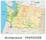 physical map of washington... | Shutterstock .eps vector #596950358
