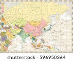 old vintage map of asia and... | Shutterstock .eps vector #596950364
