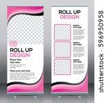 roll up brochure flyer banner... | Shutterstock .eps vector #596950958