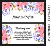 invitation with floral... | Shutterstock .eps vector #596961554