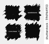 black brush stroke frame set...   Shutterstock .eps vector #596964953
